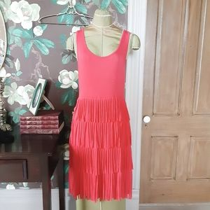 SPENSE Coral Medium Dress with Tiered Fringe
